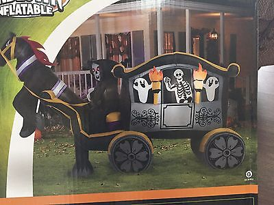 Rare New Gemmy 11' Wide Halloween Reaper On Horse & Carriage Airblown/Inflatable