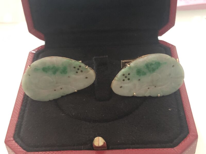 Vintage Chinese Carved Jade And 14 Kt Solid Gold Cuff Links