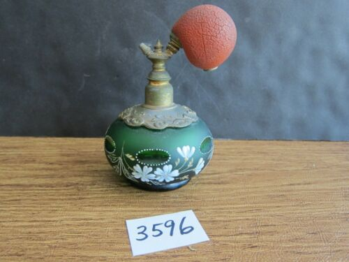 Antique Perfume Bottle Atomizer Green Cut Glass, Enamel Paint