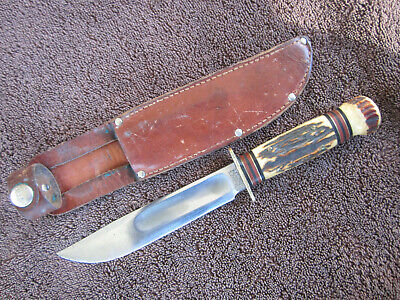 "Old Marbles Ideal 6"" Stag Vintage Knife Near Mint"