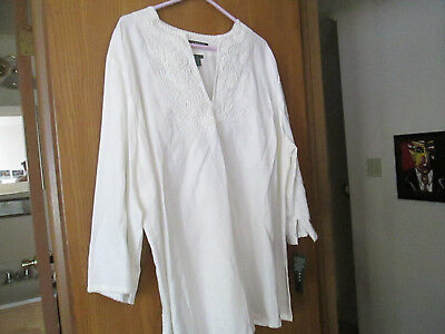 NWT Ralph Lauren PLUS 3X White Linen Tunic V Neck Top Floral Embroidery $105