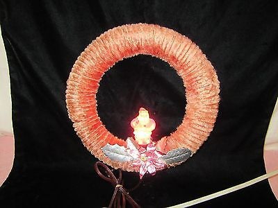 Vintage NOMA Chenille Christmas Wreath w/Santa Light - It Works!!