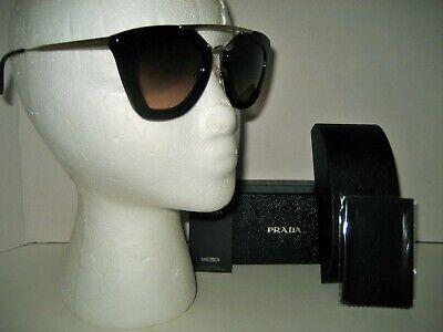 NEW PRADA Women SPR09Q Cinema Havana Brown Acetate Gold Cateye Sunglasses (Prada Spr09q)