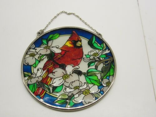 Cardinal Bird Suncatcher Hand Painted Glass By AMIA Studios 4.5""