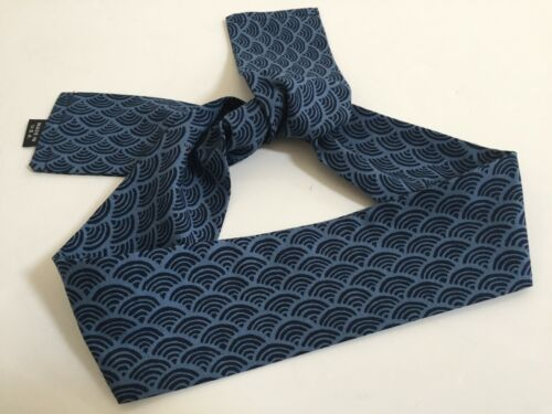 "Japanese 37"" L Headband Hachimaki Sports SEIGAIHA Blue Wave Sevenberry Cotton"