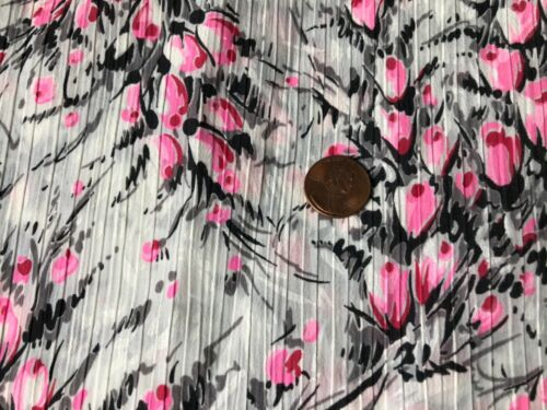 Vintage semi sheer dimity ? Gray pink floral fabric 4 yds x 28""