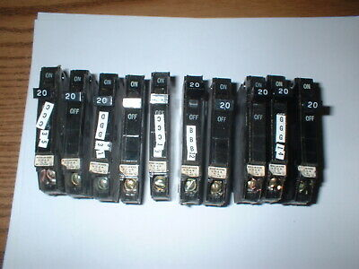 10pcs General Electric Thqp Circuit Breaker 1 Pole 20 Amp 120240vac Box21a
