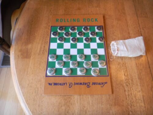 Vintage Rolling Rock Beer  Wooden checker board  game