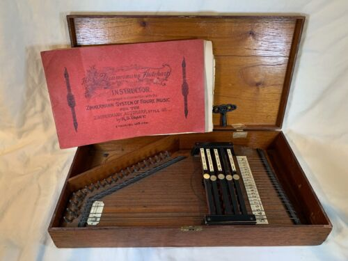1890s C. F. Zimmerman Auto Harp Original Wood Box, Key, Instructions, A753