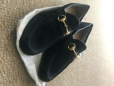 Gucci Mens Shoes Black Suede Loafers Size 8