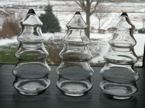 "Set of 3 Clear Glass Pine Tree Apothecary Candy Jars Canisters 2 pc 8"" tall"