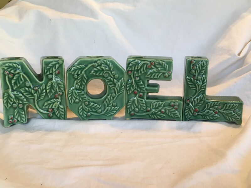 Vintage Christmas NOEL Letter Christmas Candle Holders Holly Berry Japan