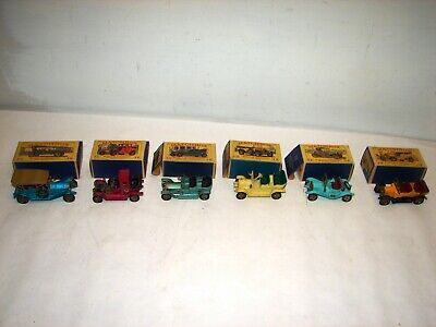 6 vintage  matchbox lot Model of Yesteryear Y-11 -thru Y-16 with boxes