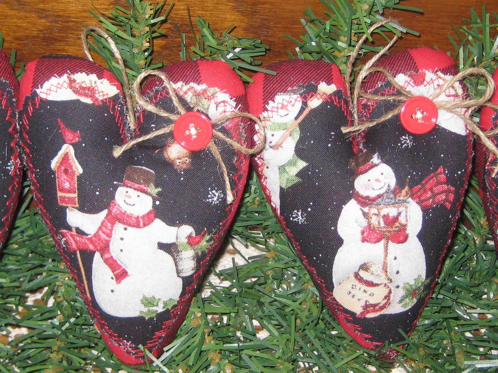 4 Snowmen Hearts Buffalo Plaid Fabric Country Christmas Decor Tree Ornaments - $19.95