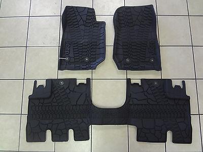 14 18 Jeep Wrangler JK All Weather Slush Mats 4DR Front  Rear Black Mopar Oem