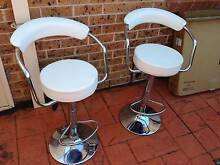 2 x Designer Bar Stool Kitchen Chair Gas Lift - White Bass Hill Bankstown Area Preview