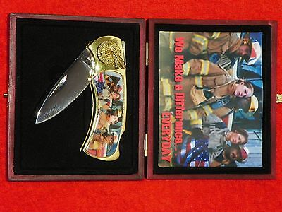 WE MAKE A DIFFERENCE COMMERATIVE FIREFIGHTER KNIFE NEW IN CASE
