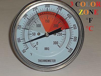 3 Bbq Pit Smoker Grill Thermometer Temperature Gauge Bi-metal 12 Npt Stem