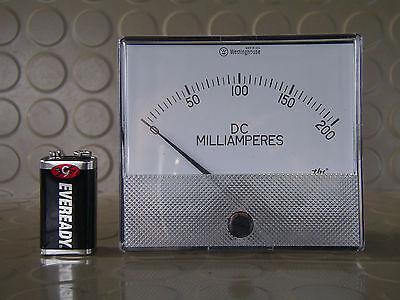 Vintage Westinghouse Large Panel Meter Current Amp Ammeter 200ma Dc N.o.s.