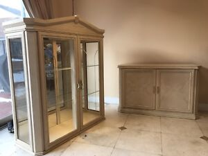 Moving sales Glass Display Cabinet with mirror
