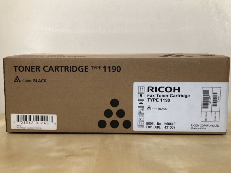 Ricoh Fax Toner Cartridge, Type 1190, 2500 Yield