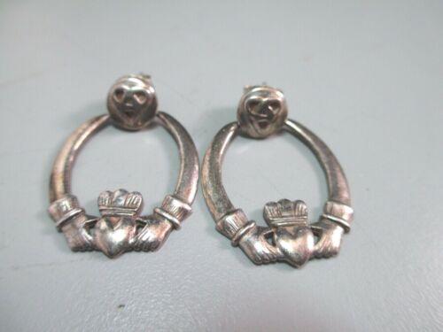 Vintage Sterling Silver Articulated Celtic earrings Claddagh door knocker