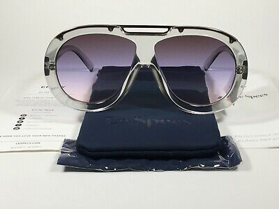 Le Specs Inferno Large Aviator Pilot Sunglasses Clear Crystal Shadow Purple Lens