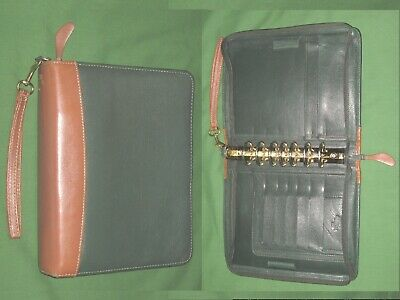 Classic 1.5 Green Brown Top Grain Leather Franklin Covey Planner Binder