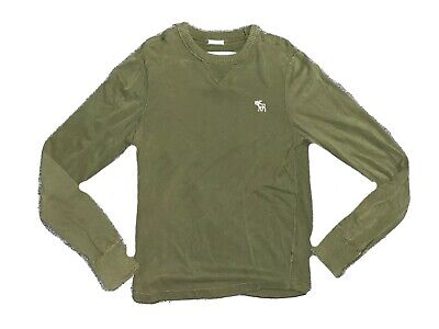 Abercrombie & Fitch Muscle Fit Green Crew Long Sleeve Shirt Mens XL XLarge