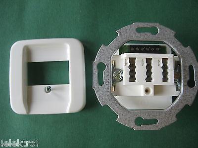 TAE Dose Telefondose 3x6 NFN UP + original Busch Jäger Abdeckung 2539-214
