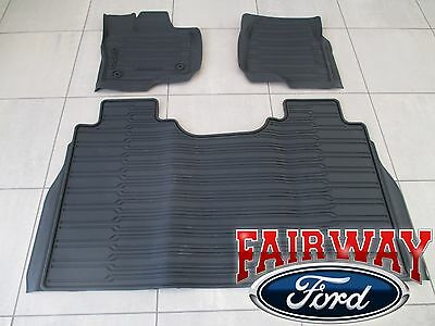 15 thru 18 F-150 OEM Genuine Ford Tray Style Molded Floor Mat Set 3-pc CREW CAB