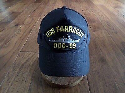 USS FARRAGUT DDG-99 NAVY SHIP HAT U.S MILITARY OFFICIAL BALL CAP U.S.A MADE