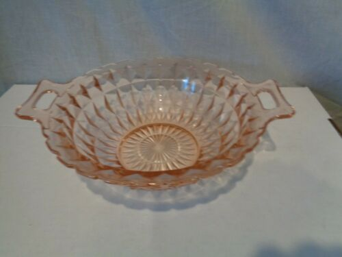 "WINDSOR JEANNETTE BOWL SERVING WITH HANDLES PINK DEPRESSION GLASS 8-3/4"" x 10"""