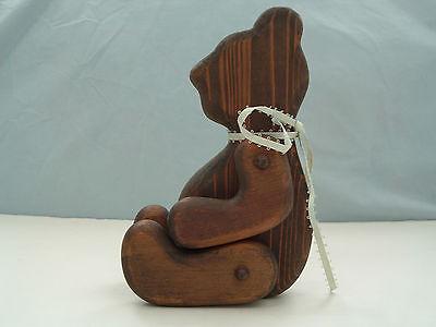 vintage country  folk  primitive decor brown  wooden jointed sitting shelf bear