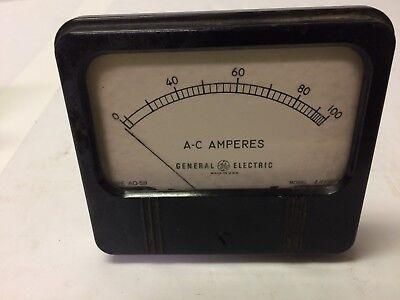 General Electric 4.5 Panel Meter 0-100 A.c. Amperes Model Ahv4-8 Type Ao-58