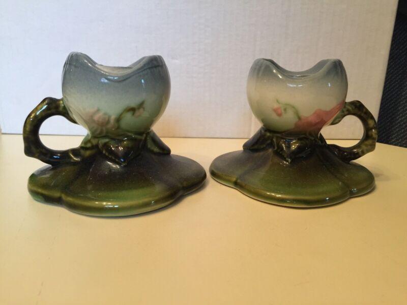 Hull W30 Candlestick Holders Pair Vintage estate sale find excellent condition