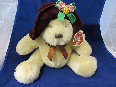 """Valentine plush Mania Teddy bear w/ hat 9 """""""