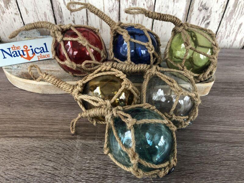 "(6) - 3"" Glass Curio Fishing Floats ~Fish Net Buoy Decor~ Blue, Green, Red, Aqua"