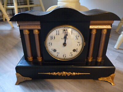 antique american mantel clock-waterbury