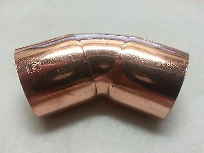 1 Copper 45 Degree Elbow Sweat Solder Pressure Fitting New
