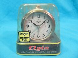 NOS ELGIN QUARTZ ANALOG ALARM CLOCK 3514E