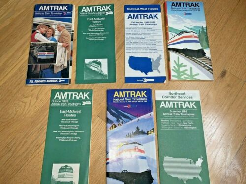7 - AMTRAK TIMETABLES 1982 to 1989