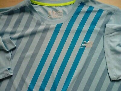 Mens New Balance Short Sleeve Blue Striped T Shirt Size 2XL Plus Size