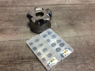 New Hitachi 4 Indexable Face Mill W. 1 12 Arbor Hole Inserts