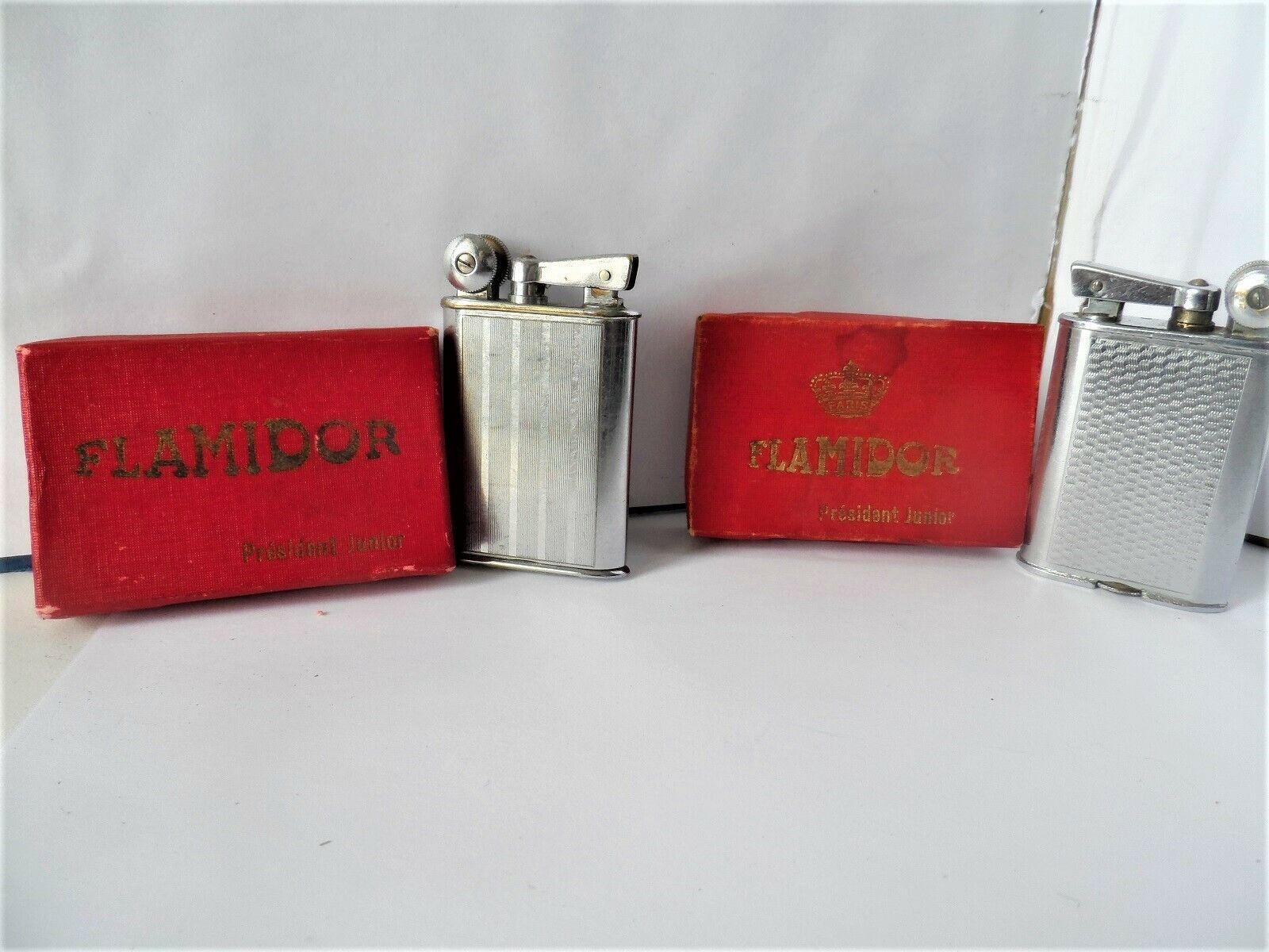 2 briquets essence flamidor présidant - junior - vintage-lighter - feueurgeug
