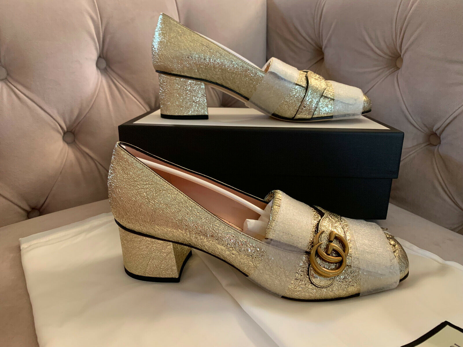New Gucci Women GG Marmont 55mm Leather Loafer Pumps Platino Gold Sz 42 NIB $830