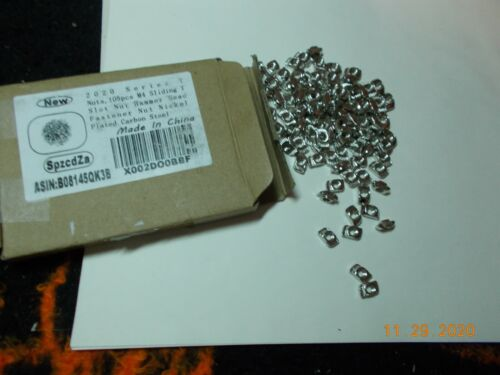 Lot of 100 Sliding T Slot Nuts M4, 2020 Series, Nickel Plated Carbon Steel