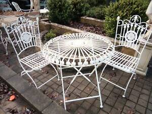 wrought iron outside garden set 3 piece table chair vintage