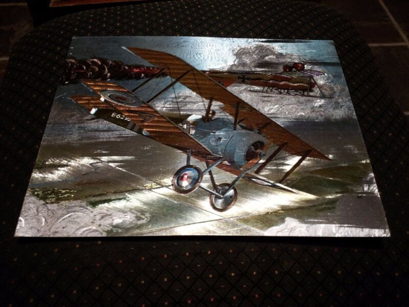 VINTAGE picture featuring 2 bi-planes war air force holographic effects