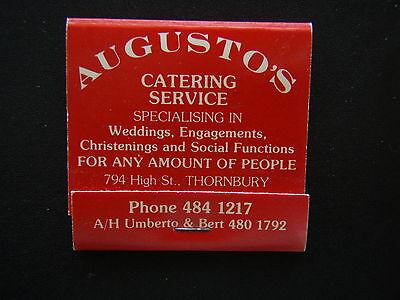 AUGUSTO'S CATERING SERVICE 794 HIGH THORNBURY 4841217 MATCHBOOK
